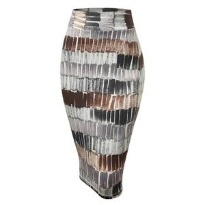 Elastic Waist Stretch Knee Length Pencil Skirt